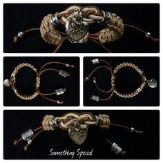 Pulsera de Cuero (Culebra) en Tejidos Macramé y dijes de fantasía ($10.00 USD) Bracelets, Jewelry, Woven Bracelets, Leather, Tejidos, Jewlery, Jewerly, Schmuck, Jewels