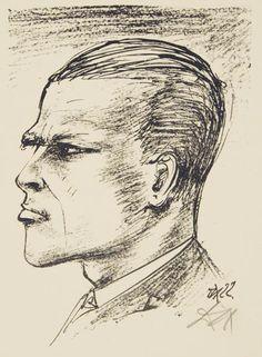 "Otto Dix. Self-Portrait in Profile. 1922. Lithograph on thin off-white wove paper. Signed, lower right. 8 1/4"" x 5 7/8"" (21 x 14.9 cm). Karsch 50."