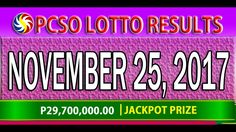 PCSO Lotto Results November 25, 2017 (6/55, 6/42, 6D, SWERTRES & EZ2 LOTTO) Lotto Results, Youtube, December 17, Youtubers, Youtube Movies