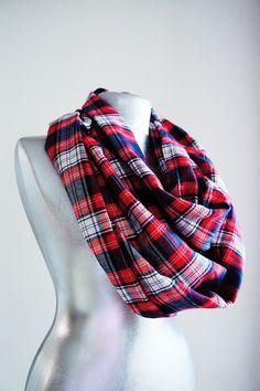 Handmade Tartan Infinity Scarf - Cotton - Red Navy Blue White - Winter Autumn Scarf on Etsy, $25.00