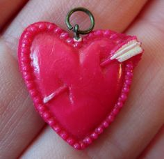 Heart With Arrow Charm Celluloid