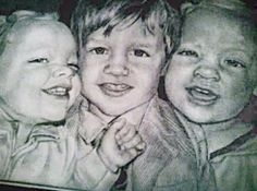 Twin girls and brother. One shy one outgoing. Graphite pencil portraits. Graphite pencil Portraits by Amber Huckaba photo realism $150.  Check me out on Facebook  @Beholder Arts https://www.facebook.com/permalink.php?story_fbid=1583598215202285&id=1583596065202500
