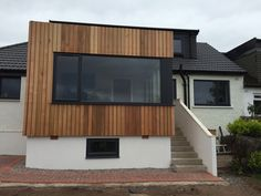 vertical western red cedar and white render on Milngavie extension design by Milngavie architects Extension Designs, Western Red Cedar, Restaurant Design, Glasgow, Architects, Shed, Outdoor Structures, Outdoor Decor, Home Decor