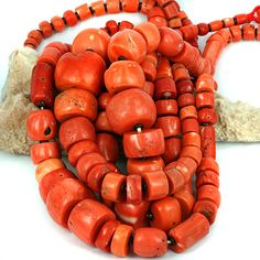 Antique Collectible  Coral Beads - Large Old Coral Lot