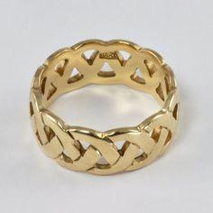 Wedding Ring - Vintage 1970s Ladies 14kt Yellow gold Wedding Band, Woven Design