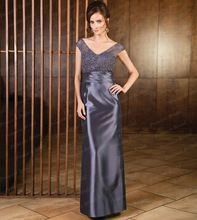 Free Shipping European Style Fancy New Sheath V Neck Floor Length Petite Mother Of The Bride Dresses With Top Lace MD030(China (Mainland))