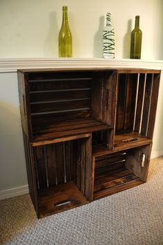 "Wooden Crate Bookcase - ""build"" them double high and use them in the living room for books and knick knacks."