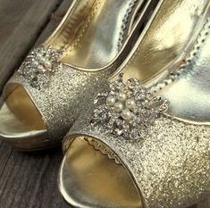 Wedding Vintage Style Shoe Clips Bridal Shoe Clips Rhinestone Pearl Shoe CLips for Wedding SHoes, Bridal SHoes Mother of Bride Bridesmaid