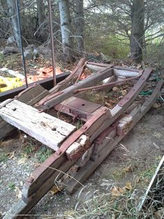 Gerald Robertson is cutting some lumber on his own mill to restore this old sleigh for the Winter.