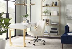Get inspired by Glam Office Design photo by Room Ideas. Wayfair lets you find the designer products in the photo and get ideas from thousands of other Glam Office Design photos. Decor, Furniture, Home Office Furniture, Interior, Home Decor, Home Office Design, Etagere Bookcase, Desk, Office Design