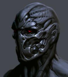 Robot face, Nagy Norbert on ArtStation at https://www.artstation.com/artwork/ZXY8X