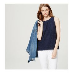 LOFT Petite Circle Lace Shell (€44) ❤ liked on Polyvore featuring tops, industrial navy, lace top, sleeveless tank tops, layering tank tops, white tank and lace tank