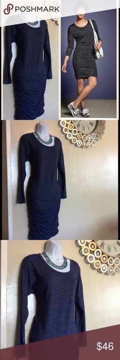 Size small blue athleta long sleeve tulip dress Size small. The ultimate shirt dress, blouse like top and ruched skirt. Breathable fabric. Super flattering fit. Heathered navy blue color. Athleta Dresses