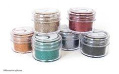 Silhouette Wide Mouth Glitter Jars - emerald, graphite, black, ruby, rust, bronze