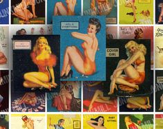 RETRO PINUPS Collage Sheet from www.junkmill.etsy.com