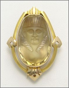 Egyptian Revival Citrine Pharaoh Brooch