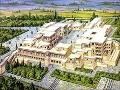 Illustration of the Palace of Knossos as it might have been 1380BC. The palace ruins today are the largest of the preserved Minoan palatial centres. Four wings are arranged around a central courtyard, containing the royal quarters, workshops, shrines, storerooms, repositories, the throne room and banquet halls. Dated to 2000-1350 BC.