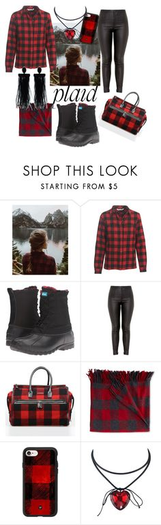 """Wishing for You"" by sallytcrosswell on Polyvore featuring Urban Renewal, Woolrich, Native Shoes, Dsquared2, L.L.Bean, Casetify, Oscar de la Renta and plaid"