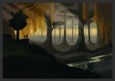 Another eerie depiction of how dark and lonely the forest can appear, with towering trees and endless landscape. Heart Projects, Environment Concept, Lonely, Concept Art, Gaming, Tower, Landscape, Dark, Painting