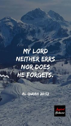 """My lord neither errs nor does He forgets."" Al Quran 20:52  #quran #quranicverse #qurantranslation #islam #islamicquotes #muslim #believers #reminder"