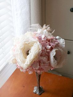 Hand made Wedding Paper flowers brooch bouquet by VyntageBlooms, $245.00