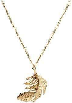 Alex Monroe Big Single Feather Necklace, Gold