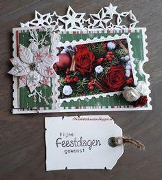 Nicolette's kaarten: Kerstkaart week 21 Christmas Cards 2018, Christmas Stickers, Floating Tea Cup, Ticket Card, Shaped Cards, Marianne Design, Studio Lighting, Christmas Wreaths, Gift Wrapping