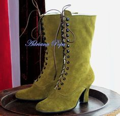 Khaki Victorian Shoes Olive Victorian boots by VictorianBoots