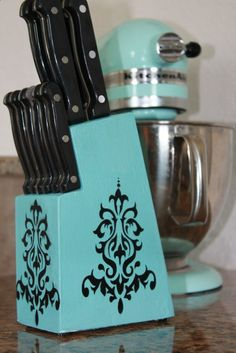 Upcycling Old Knife Holder! What a great idea! Sand, Paint, and Decorate.