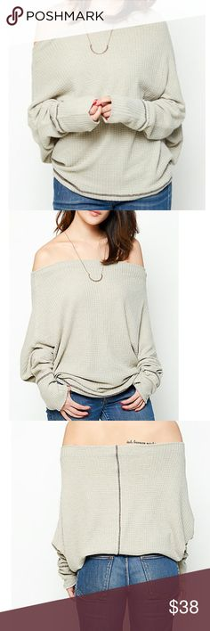 Off the Shoulder Sweater A must have for spring. This off the shoulder sweater is super comfy- chic effortless style. 35% Cotton, 65% Poly. NWT                                                                        Smoke Free/ Pet Free Home ❌No Trades, Prices Firm Unless Bundled Bundles encouraged, 10% Off 2+ Items ⚡️Fast Shipping  Shipped With Love!  Sweaters