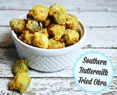Southern Buttermilk Fried Okra   The TipToe Fairy #friedokra #okra #okrarecipe