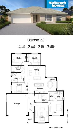 The Eclipse 221 is a very liveable home. It features two large living areas, four bedrooms, study and media room. The master suite has privacy being away from the other three bedrooms. This home has plenty of room for both parents and kids to have their own space.