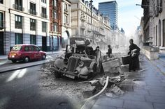 A wrecked Humber car on Pall Mall, London after an air raid during the London Blitz, 15th October 1940.