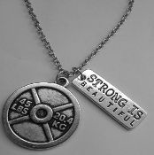 "Weightplate & ""Strong is beautiful"" Charm/Necklace Combo"