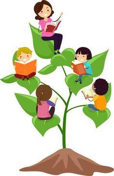 Stickman Ilustraci�n de un grupo de ni�os en edad preescolar leyendo libros mientras est� sentado en hojas gigantes School Board Decoration, School Decorations, Kids Reading Books, Reading Art, School Murals, Art School, Drawing For Kids, Art For Kids, Flower Pattern Drawing