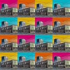 """Jack Jackowetz, Bauer Building Collage, 32"""" x 32"""", Giclee on Canvas"""