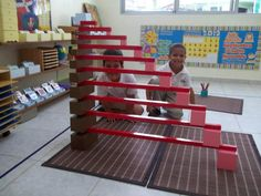 A wonderful photo of a creative extension using the Pink Tower, Brown Stair, and Red Rods!