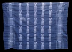 CODE #: FR537 - Manjak cloth from Senegal with comb motif on a black ground. Some faded areas, otherwise good condition. Measurement: 67 inches x 47 ins, 170cm x 121 cm. PRICE: US$375