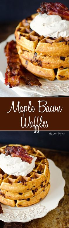 i love anything with bacon and maple in it, these maple waffles with candied bacon and maple whipped cream are no exception
