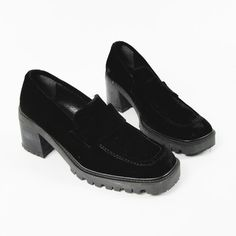 vtg 90s grunge revival GUESS black CRUSHED VELVET slip on PENNY LOAFER flats 7.5 $28.00