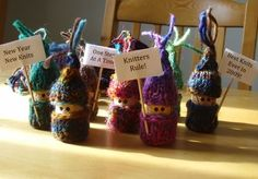 cute cork dolls with knitted hats & shirts - like bead gnomes but corky?