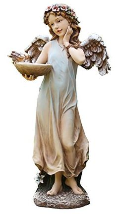 "19"" - Napco Park Place Angel Feeding Birds Garden Statue  19"" Tall"