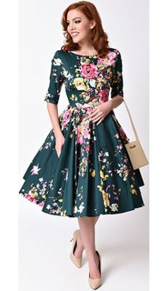 Vintage Deep Green Seville Floral Half Sleeve Hepburn Swing Dress FOR DAPPER DAY