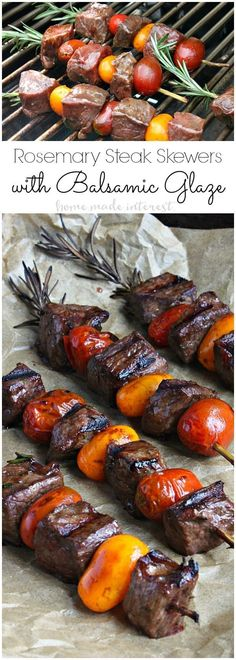 These Rosemary Steak Skewers taste as good as they look! Angus steak is marinated in a balsamic glaze and then skewered on a piece of rosemary with cherry tomatoes. This easy grilled steak recipe is perfect for cooking out on Father's Day and it makes a great summer grill recipe to share with friends and family.