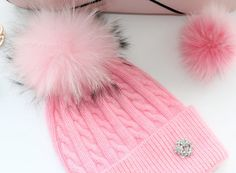 Beanie, Cashmere Wool Knit Blend Beanie Hat with Detachable Genuine Raccoon Fur Pom-Pom Light Pink Beanie and Matching Fur Pom, NEW!
