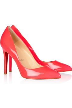 Christian Louboutin Pigalle 100 patent-leather pumps, available at Net-A-Porter. Pointed Toe Pumps, Stiletto Heels, High Heels, Pumps Heels, Victoria Beckham Bags, Neon Shoes, Colored Shoes, Define Fashion, Pink Pumps