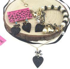 Hot Jewelry Pendant Betsey Johnson Bracelet Heart - Shaped Set Earrings Necklace