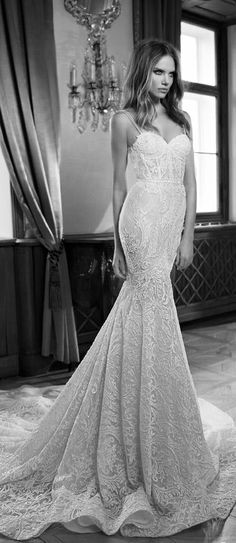 berta fall 2015 mermaid wedding dress sweetheart neckline illusion double row bead straps #mermaidweddingdress #weddingdress
