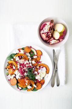 autumn salad with sweet potato pumpkin & goat cheese