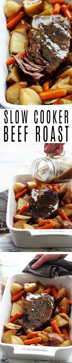 Juicy, tender slow cooked beef roast with seasoned vegetables. Top it off with a simple and easy-to-make gravy! #CrockPot #SlowCooker #Recipes